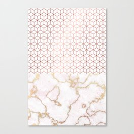 MARBLE & ROSEGOLD HEXAGONAL Canvas Print