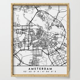 AMSTERDAM NETHERLANDS BLACK CITY STREET MAP ART Serving Tray