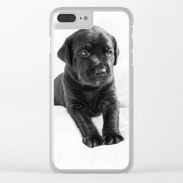 Black labrador puppy Clear iPhone Case