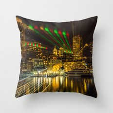 Christmas Light of Boston Throw Pillow