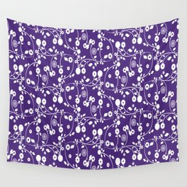 Indigo Purple Floral Pattern Wall Tapestry
