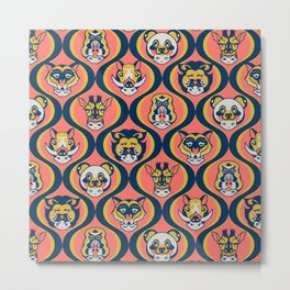Baby Face Wearing Animal Hats Pattern - Coral Color Metal Print