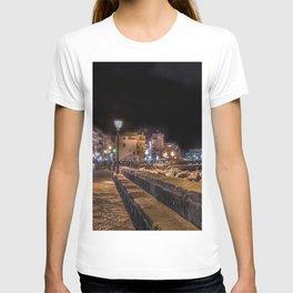 Photo Italy Ischia Ponte Street Night Street lights Cities Building night time Houses T-shirt