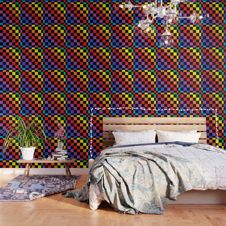 Checkered Rainbow Black Wallpaper By Lornakay Society6