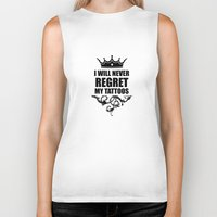 tattoos Biker Tanks featuring Never Regret Tattoos by Spooky Dooky