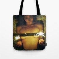 sparkles Tote Bags featuring SPARKLES by LA CRISE