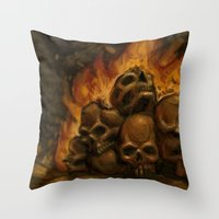 castlevania Throw Pillows featuring Flaming Skulls Digital Painting by Marcus Coltin