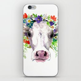 Cow and Flowers, Cow head floral Farm cattle head famr animals iPhone Skin
