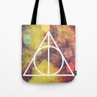 deathly hallows Tote Bags featuring Deathly Hallows by Michal