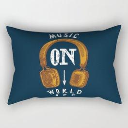 Music On - World Off Rectangular Pillow