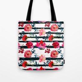 Black white pink floral watercolor stripes pattern Tote Bag