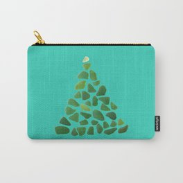 Green Sea Glass Tree on Turquoise #seaglass #Christmas Carry-All Pouch