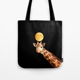 Giraffe And The Moon On A Black Background #decor #buyart #society6 Tote Bag