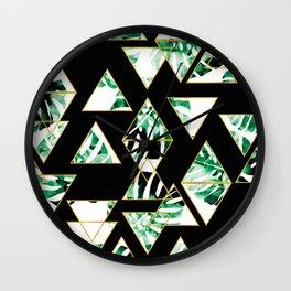 Monstera Leaf Triangle Wall Clock