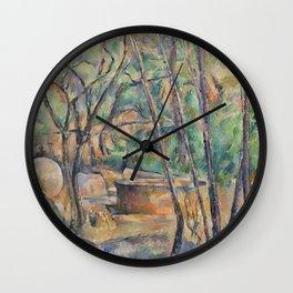 Millstone and Cistern under Trees (La Meule et citerne en sous-bois) (ca 1892-1894) by Paul Cezanne Wall Clock