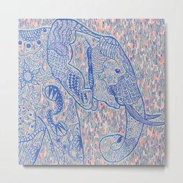 Zentangle Elephant Pastel Oil Metal Print