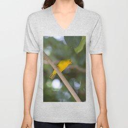 Saffron finch on a branch Unisex V-Neck