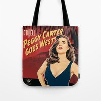 peggy carter Tote Bags featuring Peggy Carter Goes West by Arne AKA Ratscape