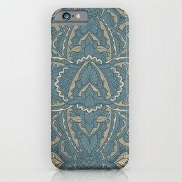 Teal gold floral damask mandala iPhone Case