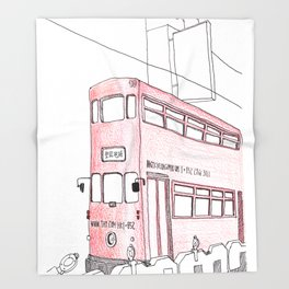 The tram in Hong Kong Throw Blanket