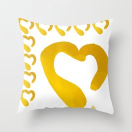 Gold Hearts on White - Love is Golden Throw Pillow