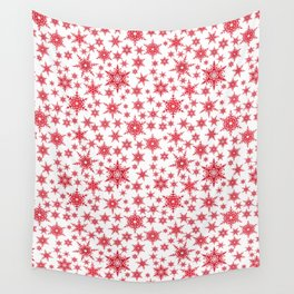 Red snowflakes on white. Wall Tapestry