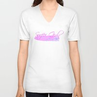 surfboard V-neck T-shirts featuring Surfer Girls with Surfboard by Fitbys