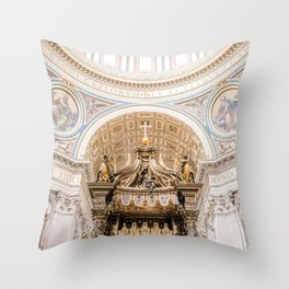 Rome 0002: Saint Peters Cathedral, San Pietro, Vatican City, Rome, Italy Throw Pillow