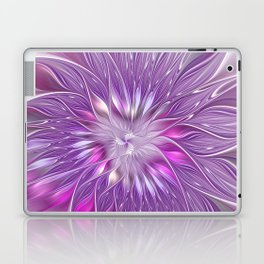 Pink Flower Passion, Abstract Fractal Art Laptop & iPad Skin