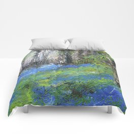 Bluebells English Woodland Landscape Acrylics On Canvas Comforters