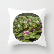 summer garden pond III Throw Pillow
