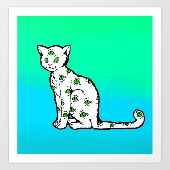 SCAREDY CAT (Cool Colors) Art Print