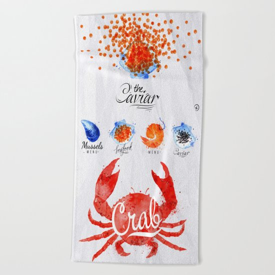 Caviar Menu Beach Towel