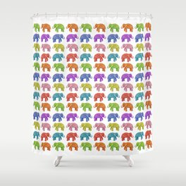 Colorful Parade of Elephants in Red, Orange, Yellow, Green, Blue, Purple and Pink Shower Curtain
