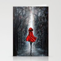 red riding hood Stationery Cards featuring Little Red Riding Hood by Annya Kai