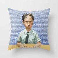 dwight Throw Pillows featuring Dwight by Richtoon