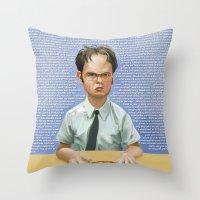 dwight schrute Throw Pillows featuring Dwight by Richtoon