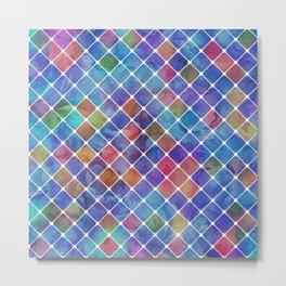 Floral Pattern in Diagonal Blocks Metal Print
