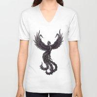 phoenix V-neck T-shirts featuring Phoenix by Texnotropio