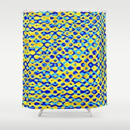 Brain Coral Dark Blue Banded Cross Small Polyps - Coral Reef Series 030 Shower Curtain
