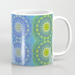 Blue and Green radial patterns Coffee Mug