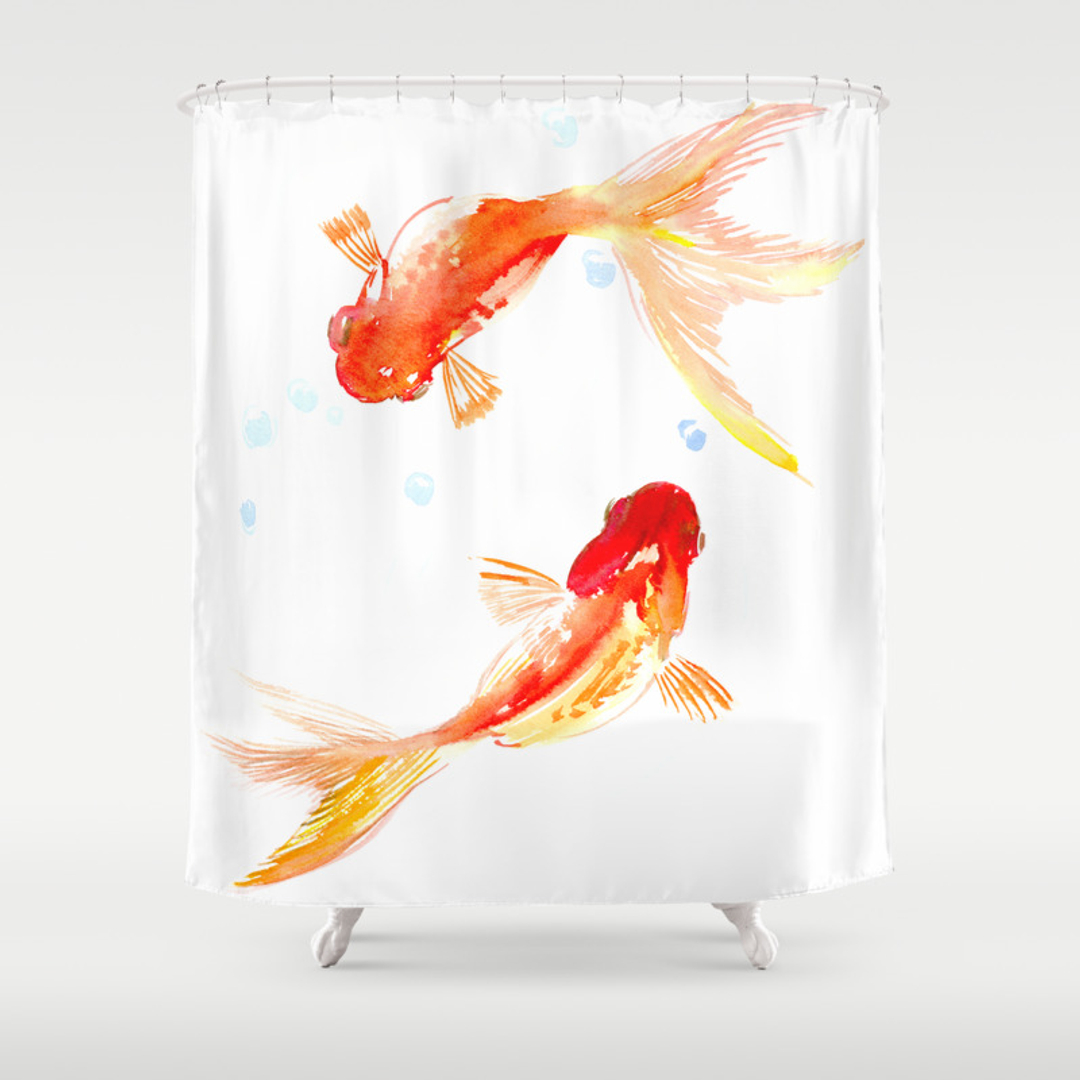 Style selections eva peva print multi fish shower curtain at lowes com - Fengshui Shower Curtains Society6