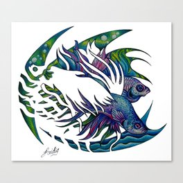 Siamese fighting fish themed artwork Canvas Print