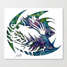 Siamese fighting fish themed artwork Canvas Print