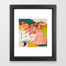 italy coast houses minimal abstract painting Framed Art Print