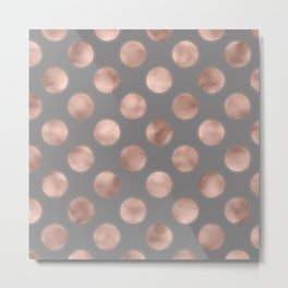 Rosegold pink metal  polkadots on grey background  - dots Metal Print