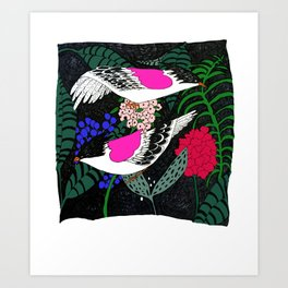 Sgraffito Birds - Bright Fuchsia Botanical Birds and Flowers Art Print