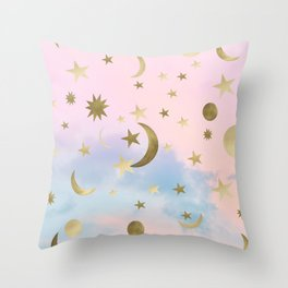Pastel Starry Sky Moon Dream #1 #decor #art #society6 Throw Pillow