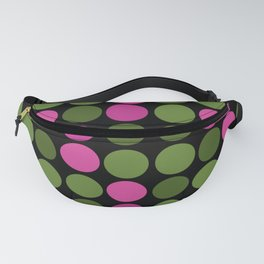 Pink and olive polka dots on black bubbles circles retro vintage Fanny Pack