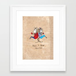 Read a book together Framed Art Print